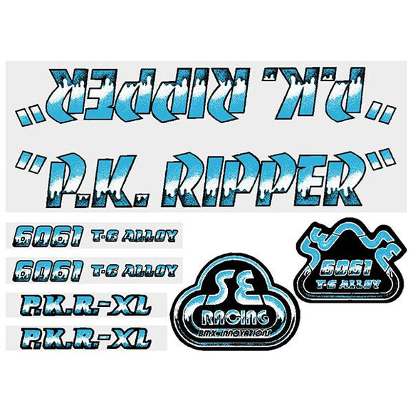 Old school bmx SE Racing PK Ripper decal set in gold with brown shadow