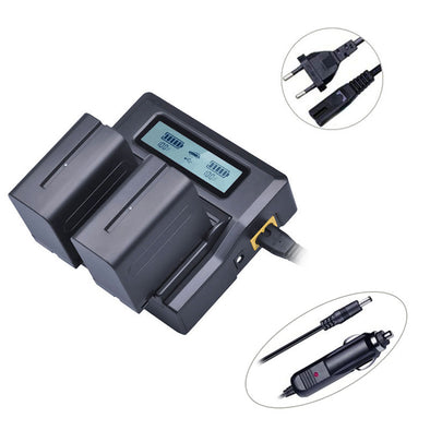 LCD Dual Fast charger and Batteries NP-F960/750/550 Kit