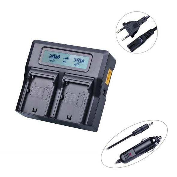 LCD Dual Fast charger for NP-F960/750/550 compatible batteries