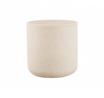 Thin rim sand finish ceramic pot - cream