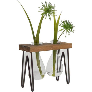 HALEY PROPAGATION STAND / WOODEN DOUBLE VASE Folia House
