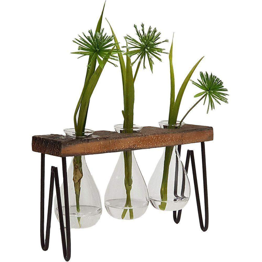 Haley Propagation stand/Wooden triple Vase Folia House