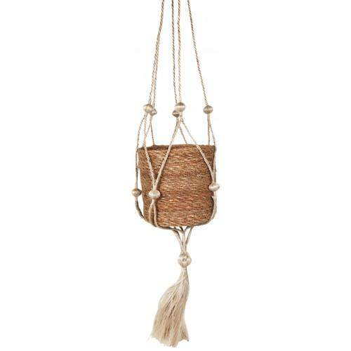 Jute Bobble Hanging Planter Natural H14x14x14cm Folia House