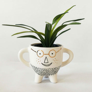 Man with Glasses Planter with Legs White Folia House