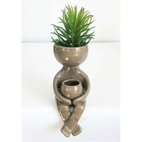 Person Planter with Pot Grey 17X8X11cm Folia House