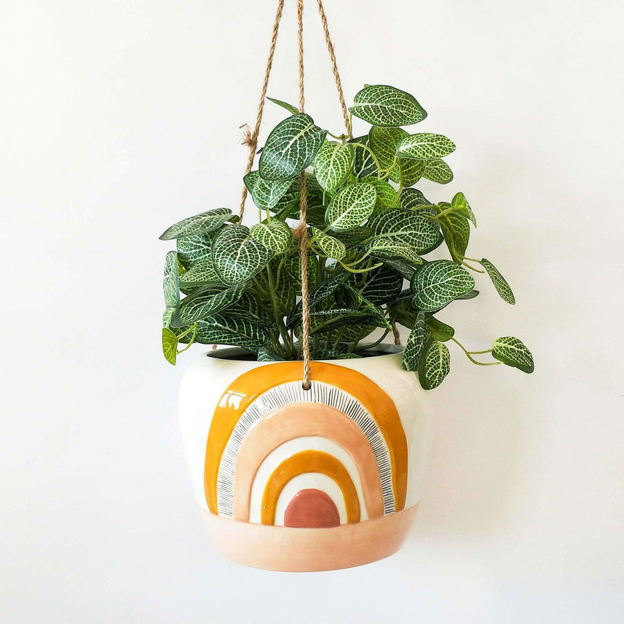 Woodstock Rainbow Hanging Planter Mustar 15x20x20cm Folia House