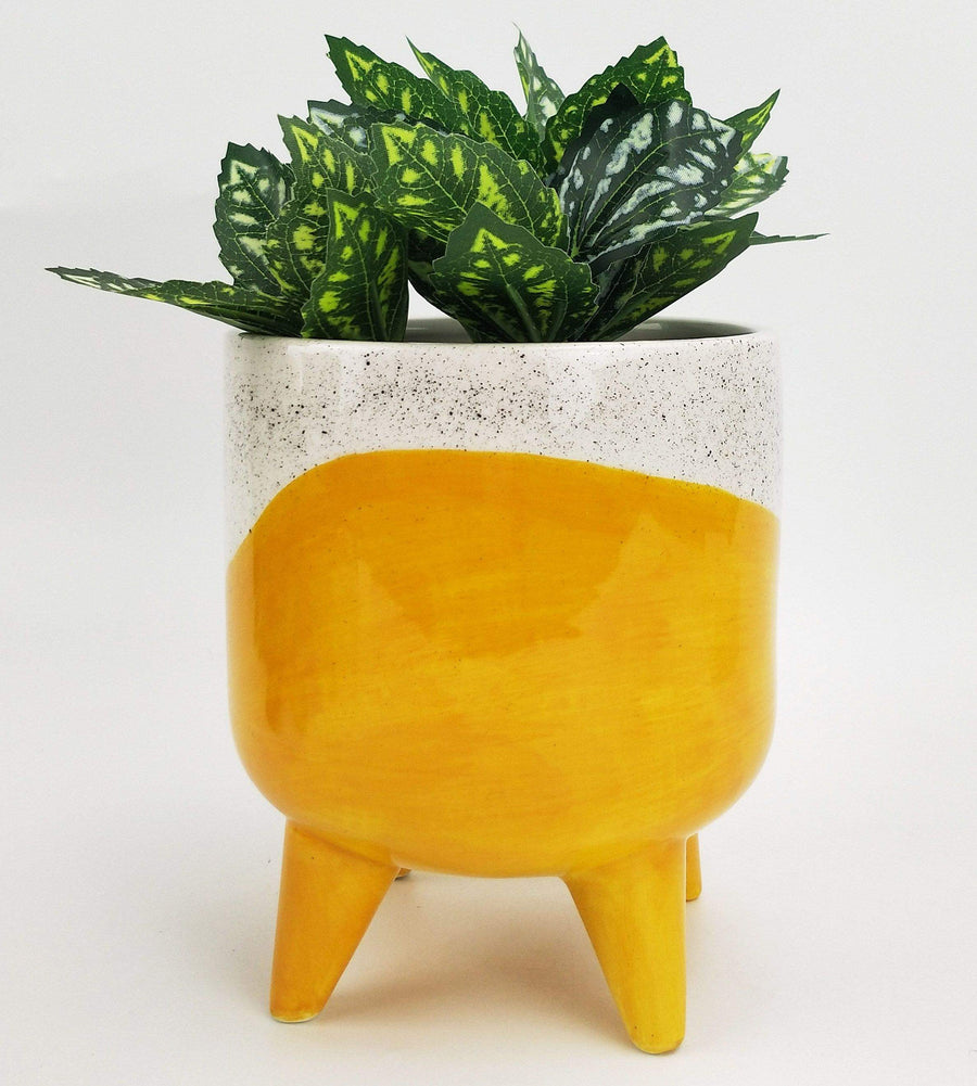 Avery Dot Planter with Legs Yellow
