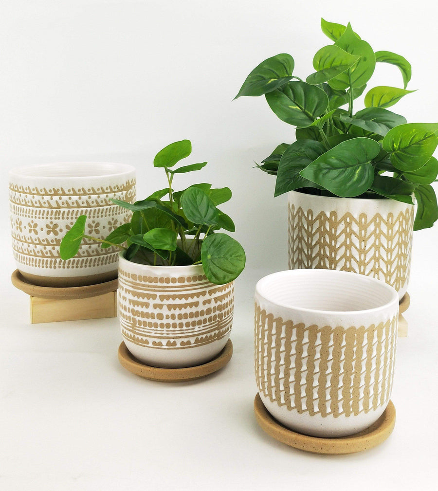 River Knit Planter with Saucer White & Mocha