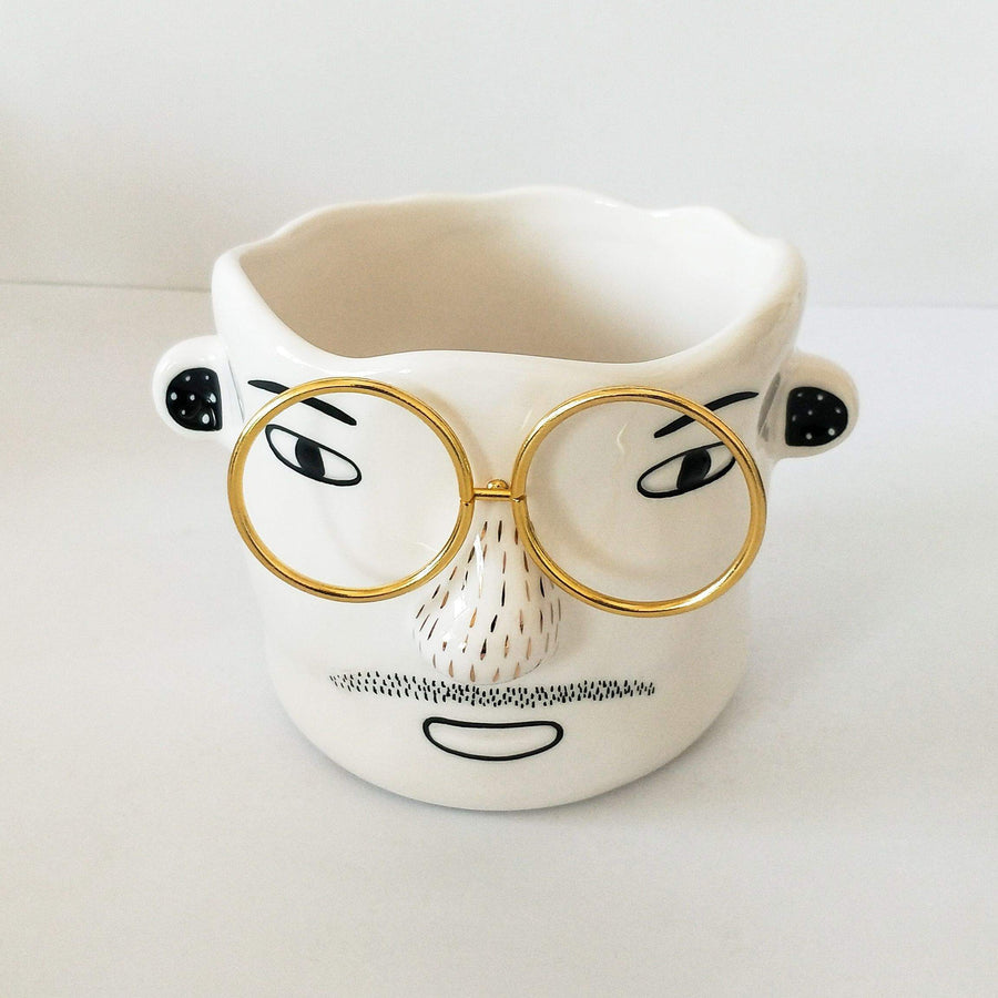 Man with Glasses Planter White & Gold