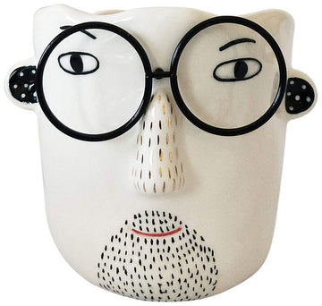 Man with Glasses Planter White & Black