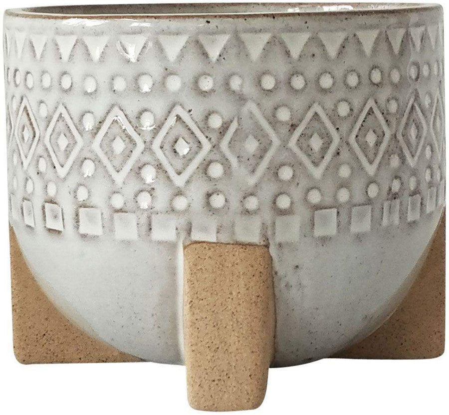 Zuri Planter With Legs White & Sand