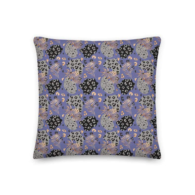 Audrey & Irene  18×18 Tropical Leopard Print Purple Decorative Premium Throw Pillow