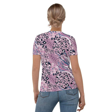 Audrey & Irene  AOP Tee Pink Abstract Animal Print Women's T-shirt