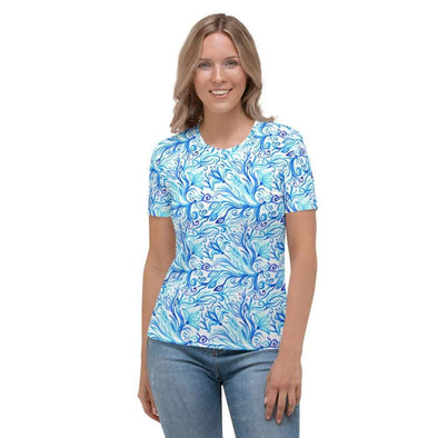 Audrey & Irene  AOP Tee XS Abstract Blues Women's AOP T-shirt