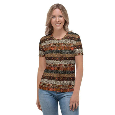 Audrey & Irene  AOP Tee XS Ethnic Geometric Striped Earth Tones Women's AOP T-shirt