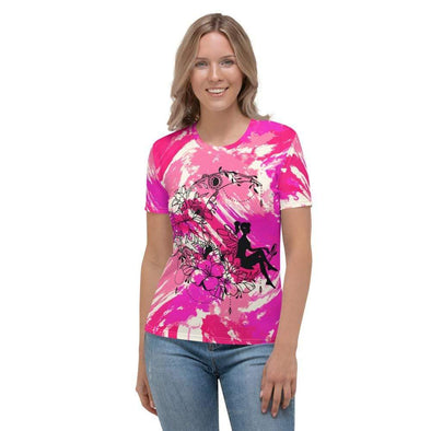 Audrey & Irene  AOP Tee XS Fairy in a Crescent Moon Pink Abstract Women's AOP T-shirt