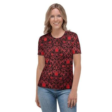 Audrey & Irene  AOP Tee XS Gothic Rose & Scroll Women's AOP T-shirt