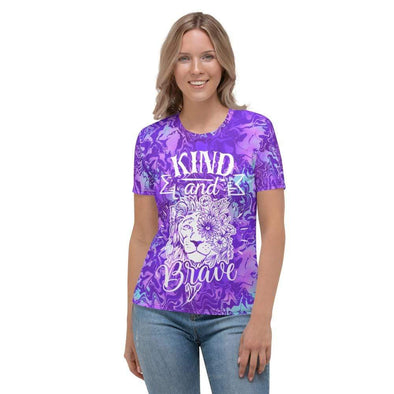 Audrey & Irene  AOP Tee XS Lion Kind And Brave Purple Abstract Women's AOP T-shirt