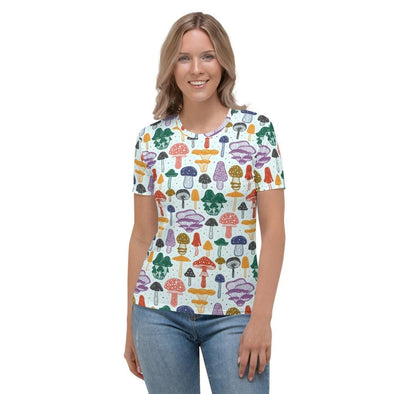 Audrey & Irene  AOP Tee XS Mushrooms Multicolor Women's AOP T-shirt