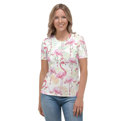 Audrey & Irene  AOP Tee XS Pink Flamingos Tropical Leaves Women's AOP T-shirt