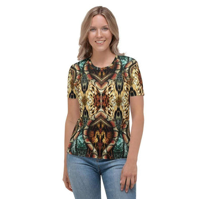 Audrey & Irene  AOP Tee XS Snake Skin Abstract Wildlife Women's AOP T-shirt
