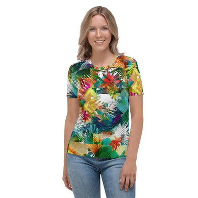 Audrey & Irene  AOP Tee XS Tropical Floral Abstract Women's AOP T-shirt
