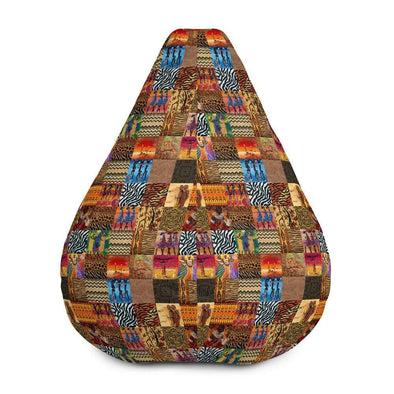 Audrey & Irene  Bean Bag African Print Patchwork Bean Bag Chair Cover Only