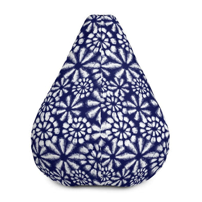Audrey & Irene  Bean Bag Blue & White Floral Boho Bean Bag Chair Cover Only