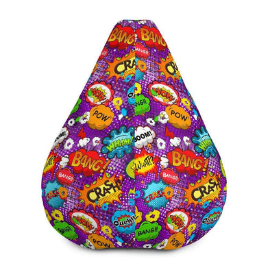 Audrey & Irene  Bean Bag Comic Book Bubbles Purple Bean Bag Chair Cover