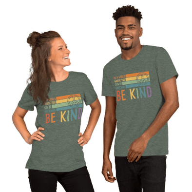 Audrey & Irene  Bella 3001 Be Kind Peace Retro #KindnessMatters Unisex T-Shirt