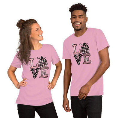 Audrey & Irene  Bella 3001 Lilac / S Breast Cancer Love October Pumpkin SS Unisex T-Shirt