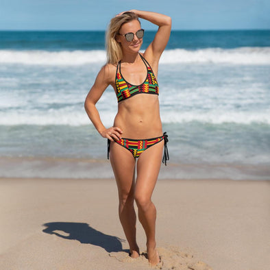 Audrey & Irene  bikini African Print Red Gold Green Pattern Reversible Gold Tile Bikini