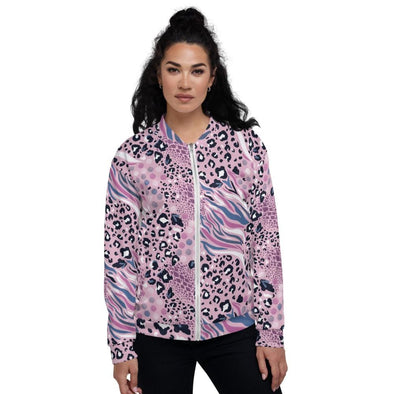 Audrey & Irene  Bomber Jacket XS Pink Abstract Animal Print Unisex Bomber Jacket