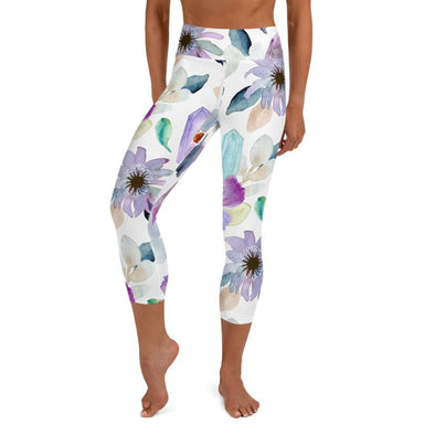 Audrey & Irene  Capri Leggings XS Flowers & Crystals Yoga Capri Leggings