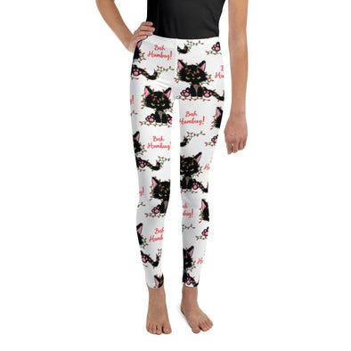Audrey & Irene  Christmas 8 Bah Hum Bug Black Kitty Youth Leggings