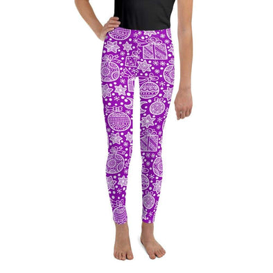 Audrey & Irene  Christmas 8 Christmas Doodles Purple Holiday Youth Leggings