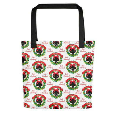 Audrey & Irene  Christmas Black Bah Humbug Christmas Cat Holiday Tote bag