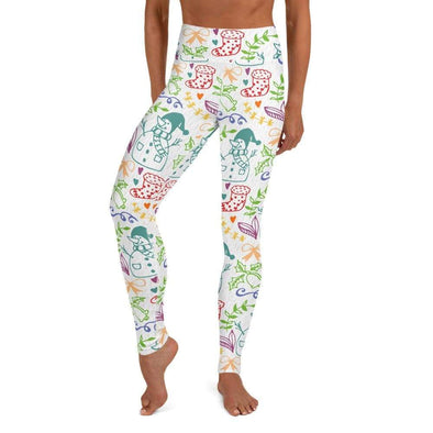Audrey & Irene  Christmas XS Christmas Doodles Yoga Pants Leggings