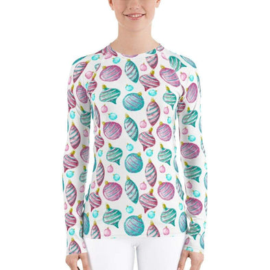 Audrey & Irene  Christmas XS Christmas Ornaments Holiday Pastel Women's Rash Guard
