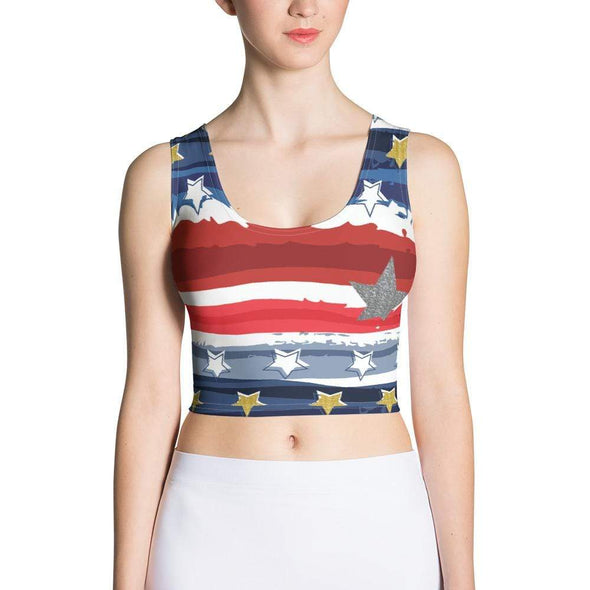 Audrey & Irene  Crop Top XS Patriotic Stars & Stripes Abstract Crop Top