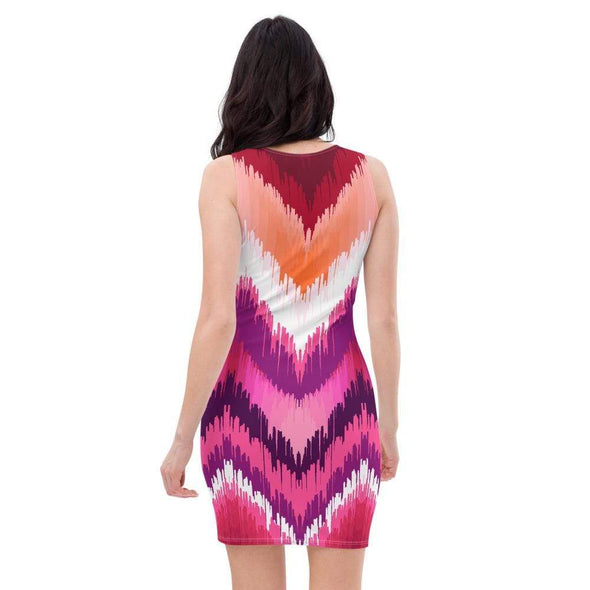 Audrey & Irene  Dress Chevron Ombre Pink Orange Red Bodycon Fitted Party Dress