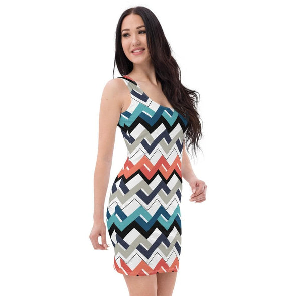 Audrey & Irene  Dress Mod Teal Orange Navy Geometric Bodycon Fitted Party Dress