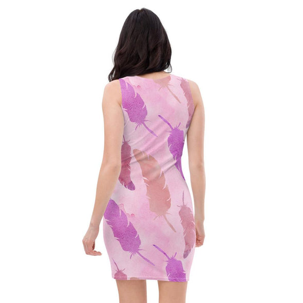 Audrey & Irene  Dress Pink Feathers Boho Bodycon Fitted Party Dress,