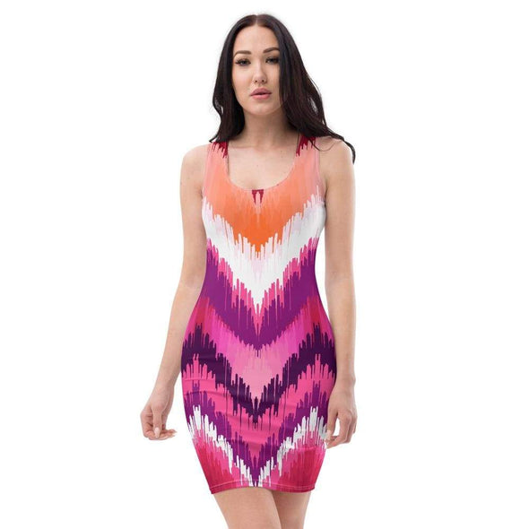 Audrey & Irene  Dress XS Chevron Ombre Pink Orange Red Bodycon Fitted Party Dress