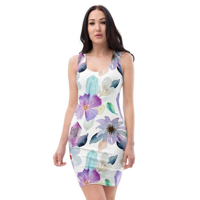 Audrey & Irene  Dress XS Flowers & Crystals Bodycon Fitted Party Dress