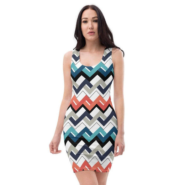 Audrey & Irene  Dress XS Mod Teal Orange Navy Geometric Bodycon Fitted Party Dress