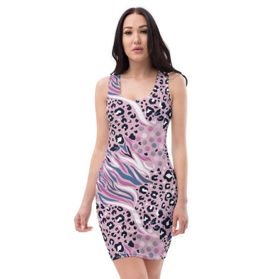 Audrey & Irene  Dress XS Pink Abstract Animal Print Bodycon Fitted Party Dress
