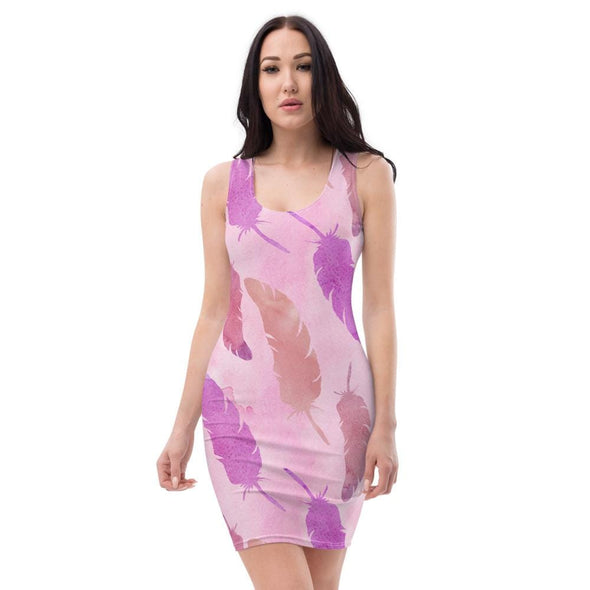 Audrey & Irene  Dress XS Pink Feathers Boho Bodycon Fitted Party Dress,