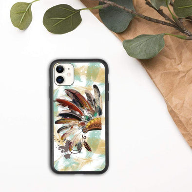 Audrey & Irene  Eco Phone Cover iPhone 11 Native American Headdress Indigenous Biodegradable phone case