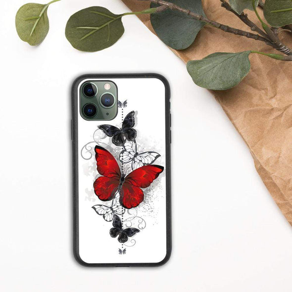 Audrey & Irene  Eco Phone Cover iPhone 11 Pro Butterflies Tattoo Biodegradable phone case